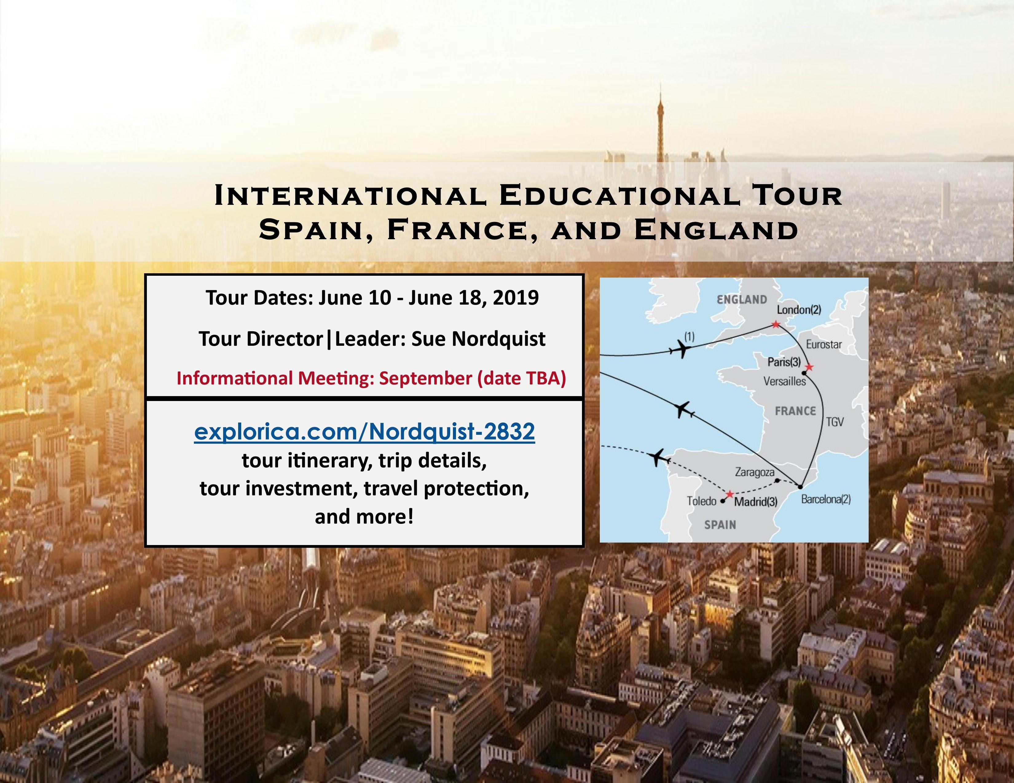 International Educational Tour, Summer 2019